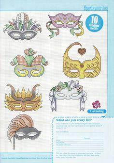 0 point de croix masque carnaval - cross stitch carnival mask
