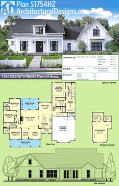 Architectural Designs Modern Farmhouse Plan 51754HZ gives you over 2,600 square feet of living space plus a bonus room over the garage giving you a great play room or a 5th bedroom. Ready when you are. Where do YOU want to build? by maryanne