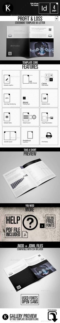 e Proposal Template InDesign INDD - 14 Pages e-Publishing - profit and loss staement