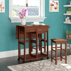 New Callaghan 3 Piece Drop Leaf Dining Set. Kitchen Dinings Room Furniture from top store Wood Table Bases, Solid Wood Table Tops, Solid Wood Dining Set, 3 Piece Dining Set, Teak Table, Kitchen Dining Sets, Counter Height Dining Sets, Dining Room Sets, Kitchen Cart