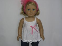 American Girl Doll Clothes - White Eyelet Top with Rolled-up Jeans