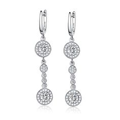 EVER FAITH® 925 Sterling Silver Prong Cubic Zirconia Tear Drop Bride Engagement Dangle Earrings Clear pcRHN