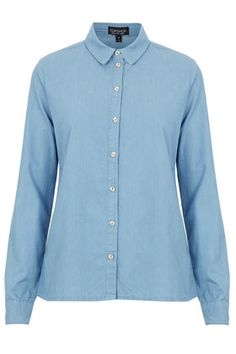 MOTO Powder Blue Denim Shirt, Topshop
