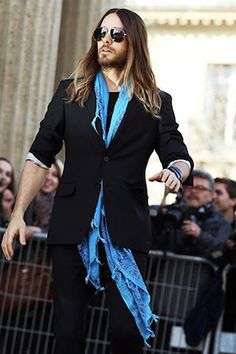 Jared Leto donned cool shades and a shredded scarf in Paris.