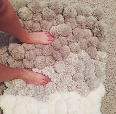 Neutral ombre Pom Pom rug by vanessaspompoms on Etsy