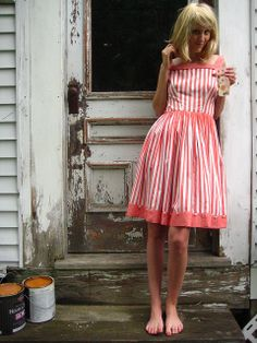 50's Stripes and Buttons Summer Dress by thirteeneightyfive, via Flickr