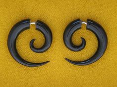 Tribal Style Organic Earrings - Salvaged Horn Small Spirals Fake Gauges, Horn Earrings, Organic, Split, Cheaters, Plugs, Tribal, Handmade