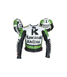 Sports Green Kawasaki Leather Motorcycle Jacket