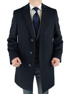Luciano Natazzi Men's Charcoal Cashmere Wool Overcoat Modern Topcoat Gray