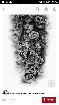 totenkopf mit rosen tattoo - junge frauen und graue totenköpfe und viele große graue rosen dragon tattoo tattoo tattoo designs tattoo for men tattoo for women tattoo tattoo tattoo tattoo tattoo tattoo tattoo tattoo ideas big dragon tattoo tattoo ideas Full Sleeve Tattoos, Tattoo Sleeve Designs, Day Of The Dead Tattoo Sleeve, Day Of The Dead Tattoo For Men, Half Sleeve Tattoos For Guys, Sleave Tattoos For Women, Full Leg Tattoos, Leg Tattoos For Men, Female Tattoo Sleeve