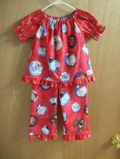 Christmas Pajamas classic cartoon print girls size 5t by SewMeems