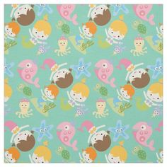 Little Mermaids and Sea Creatures Fabric