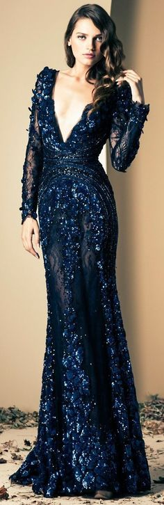 A little deep in that v-neck but gorgeous none the less.  Ziad Nakad Fall / Winter 2014 Blue long dress