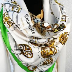 Authentic Vintage Hermes Silk Scarf Cuivreries Kelly Green Original Issue  1963 Silk Neck Scarf 67e13aac56