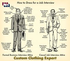 An Advice on how to dress for a Job Interview. First Impression is the Last impression so try to make your First  everlasting with NobleHouse-Custom Tailors. http://www.noblehouse.us/index.php/schedules  #advice #dressup #jobs #Interview #FirstImpression #LastImpression #EverLasting #formal #casual #job #business #businessopportunity #attire