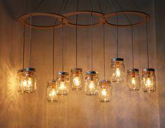 Mason Jar Chandelier - Mason Jar Light - Canopy Style Large Swag Light - BootsNGus Lamp Design - Hanging Pendant Lighting Fixture