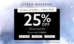 25% off everything in-store and online. Available from 9AM AEDT Friday 24 November until 11.59PM AEDT Monday 27 November 2017.