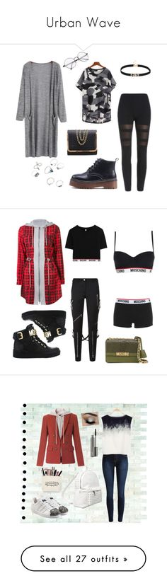 """""""Urban Wave"""" by elomila ❤ liked on Polyvore featuring romwe, cardigan, Leggings, Moschino, Fall, hoodie, Veronica Beard, adidas Originals, 7 Chi and MAC Cosmetics"""