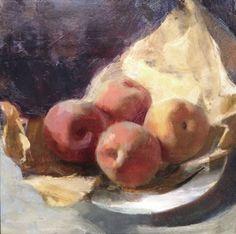 Jon Redmond, Still Life with Peaches, 2015, oil on board, 10 x 10 inches