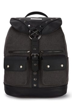 Ritual Ring Backpack [CANVAS] | KILLSTAR  Ritual |ˈrɪtʃʊəl|noun;a religious or solemn ceremony consisting of a series of actions performed according to a prescribed order. 'Working with the Craft' Backpack - remixed classic shapein premium faux leather & canvas with statement pentagram accent hardware. The perfect size for yer busy lifestyle - including inner zip pocket and side compartments. Adjustable back straps for ultimate comfort.