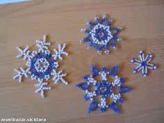 Beaded snowflakes pattern, below pics of patterns click on view larger image