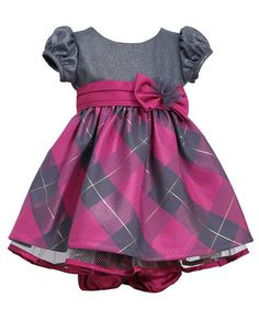 """Grey & fuchsia """"shimmer"""" plaid empire dress for your baby girl by Bonnie Jean (sz.12m-24m) - very sweet dress for the holidays and any other special occasion! #Christmas"""