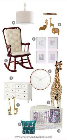 Ideas for #purple #girlsnursery #residentialdesign #potterybarn #giraffes