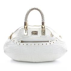 Versace Couture White Quilted Leather Handbag With Gold Braided Handle Ghw GSztqHLJ