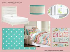 Be Happy Teen Girl Room Design.    Products from PB Teen
