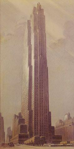 ✽ 'the rockefeller centre' - john c wenrich - beyond architectural illustration