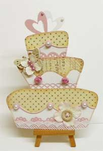 Wedding cake DIY invitation (Uses cardstock by Bazzill, pearls by Basic Grey)