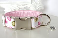 Dog Collar  Baby Pink Dots With Olive Spots by TwistedPetDesigns, $23.00