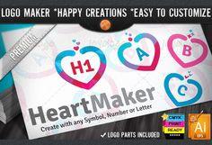Check out Colorful Flat Love Heart Logo Maker by joyologo on Creative Market