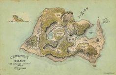 Crichton's Island Map Print Barrie's The Admirable Crichton Neverland Map, Jm Barrie, Dnd 5e Homebrew, Island Map, Interactive Art, Cartography, Vintage World Maps, Fine Art Prints, Poster Prints