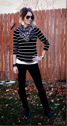 Wide leather cuff, black and white stripes, black pants, scarf. || Stylin'! I'd love to have these items to pull this off, my hubby would like it too. ;-)