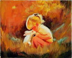 rabbit painting | Child and Rabbit Fine Art Oil Painting on Canvas Wall Decor by ...