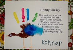 Preschool Crafts for Kids*: Thanksgiving Rainbow Handprint Turkey Craft. This would also be great for a homeschool project when the time comes :) Thanksgiving Art, Thanksgiving Preschool, Fall Preschool, Thanksgiving Crafts For Kids, Preschool Crafts, Holiday Crafts, Fall Crafts, Holiday Fun, Thanksgiving Placemats