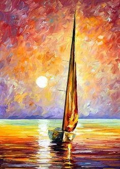 0166  Gold Sail Print by Leonid Afremov