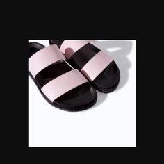 b114b9c3c70 Zara light pink and black Slides Light pink and black Birkenstock-style  sandals. Worn