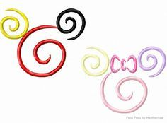 Miss and Mister Mouse Spiral SET TWO Machine Embroidery Designs, multiple sizes including 1, 2, 3, 4, 5, and 6 inch
