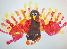 hand and foot finger painting | Snails and Puppy Dog Tails: Hand and Foot Print Turkey
