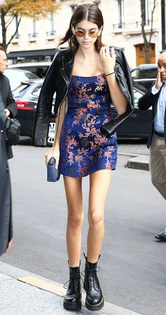 Kaia Gerber has arrived in Paris for fashion week, and she brought her favorite ankle boot style with her. See them here.