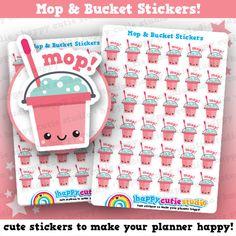 36 Cute Mop and Bucket/Chores/Clean Planner Stickers, Filofax, Erin Condren, Happy Planner,  Kawaii, Cute Sticker, UK