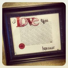 DIY I love you because frame