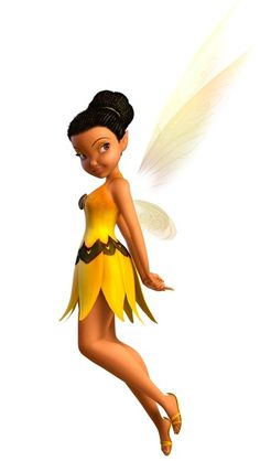 Iridessa is a light-talent fairy with black hair put up in a bun & has brown eyes. The dress she is depicted in most times is a yellow strapless dress with a sunflower seed as a button.  Iridessa, one of the most talented light fairies, is a detail-oriented perfectionist. She's passionate about her work, but can also be a worrywart, even whenshe tries to see the bright side of things, but often smells disaster. She hates to be wrong but usually is always right.