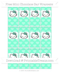 Free Aquamarine Heart Pattern Hello Kitty Mini Chocolate Bar Wrappers