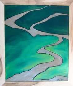 """Muddy River"" Acrylic on Woodburned panel.  $135"