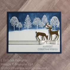 Pollock Designs: Stampin' Up! Lovely as a Tree and Dashing Deer stamp sets; SU Night of Navy ink; SU white and silver embossing powders and Shimmer Paint Company Christmas Cards, Christmas Cards 2018, Stamped Christmas Cards, Homemade Christmas Cards, Christmas Deer, Xmas Cards, Holiday Cards, Chrismas Cards, Elegant Christmas