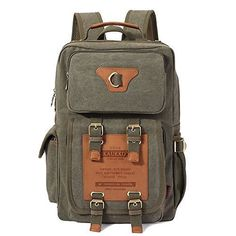 Kaukko Vintage Canvas Backpack Rucksack Satchel Duffle Bag Hike Bag Green * To view further for this item, visit the image link. (Note:Amazon affiliate link) #LuggageTravelGear