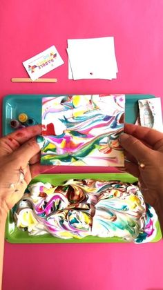 Creating beautiful marbled paper using shaving cream is a classic art project for a reason! It's a fun sensory activity for kids and it produces lovely sheets of marbled paper! Art Activities For Kids, Toddler Activities, Art For Kids, Art Project For Kids, Easy Kids Art Projects, Art Education Projects, Preschool Art Projects, Art Videos For Kids, Kids Art Class